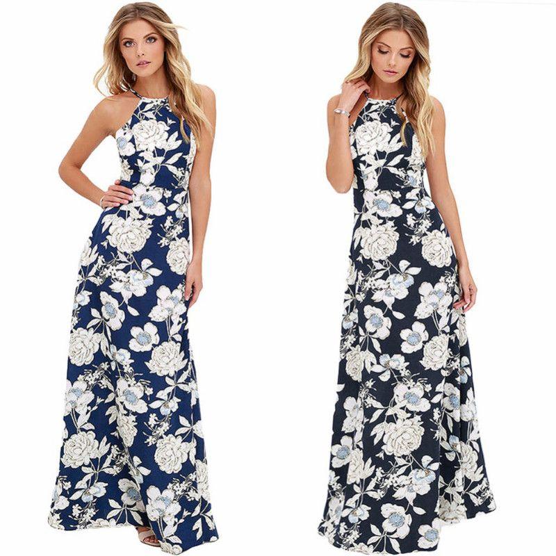 9940fe74d3 Compre 2018 Mujeres Sexy Estampado Floral Maxi Boho Vestido De Cuello Alto  Sin Espalda Sin Mangas De Verano Vestido Largo Vacaciones De Playa Vestidos  De ...