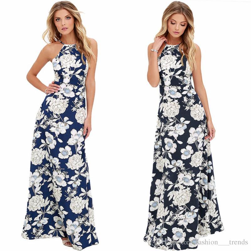 d51c618f6d 2018 Sexy Women Floral Print Maxi Boho Dress Halter Neck Sleeveless  Backless Summer Long Dress Holiday Beach Vestidos Evening Party Dresses  Semi Formal ...