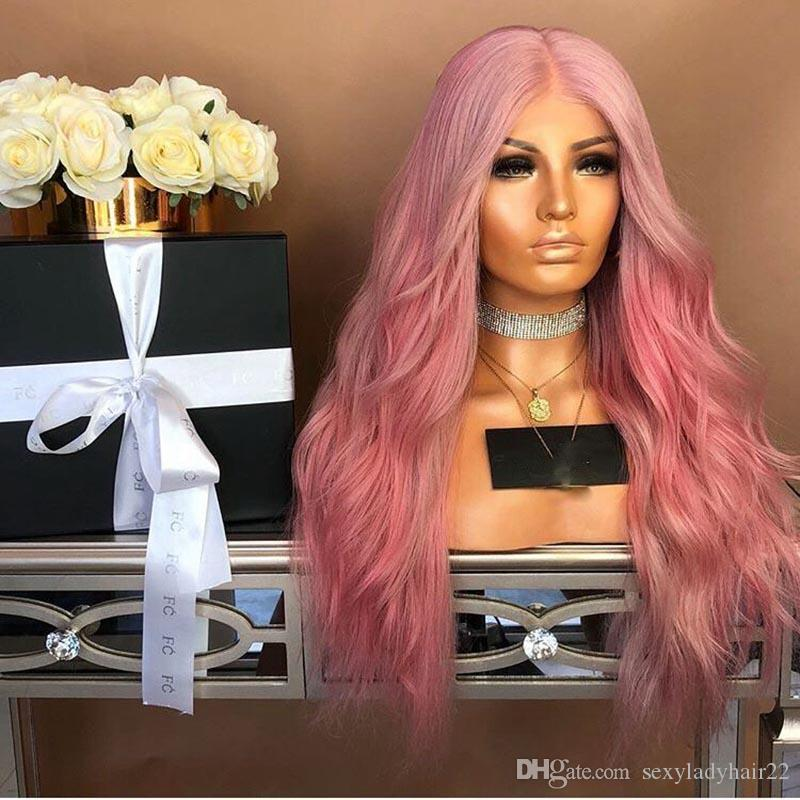 Middle Part Glueless long Pink Lace Front Wig Body Wave African American Wigs Heat Resisatnt Hair Synthetic Wigs For Women