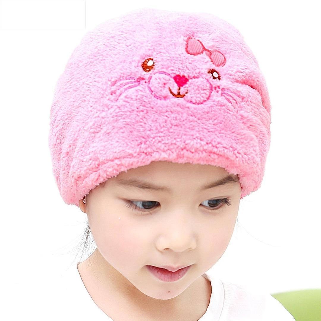 2018 Cartoon Lovely Dry Hair Hats Kids Cotton Hats Towels For