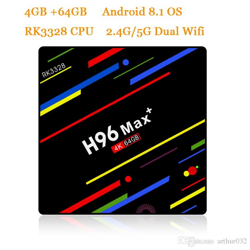 H96 MAX+ Smart TV Box Android 8.1 RK3328 4GB 64GB Set Top Box HDR10 USB3.0 2.4G/5G WiFi 4K H.265 HD Media Player