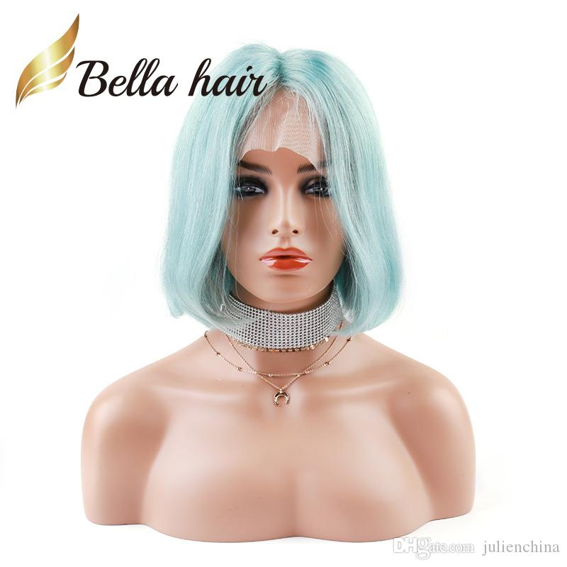 Halloween's Sale Blue Color Bob Style Wig Colorful Human Hair Wigs Bob Style Density 180% Thickness Full Lace Wig Julienchina Bella Hair