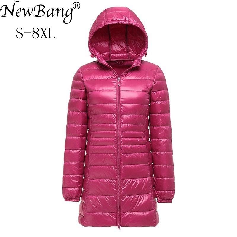 f86196a6f7e01 2019 NewBang Brand 7XL 8XL Plus Women S Down Coat Ultra Light Down Jacket  Women Lightweight Autumn Winter Hooded Long Down Coat S18101306 From  Junlong02, ...