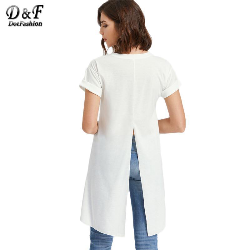 b53dcd85bc03 Dotfashion Slit Back T Shirt Women White High Low Dip Hem Brief Sexy Summer  Tops 2017 New Short Sleeve Novelty Ladies T Shirt T Shirt Slogan Daily T  Shirts ...