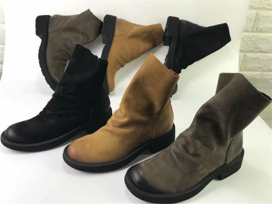 5ee8f120380 Women Casual Waterproof Matting Leather Ladies Boot Retro Punk Rock Style  Work Boots European Designers Comfortable Ankle Bootie 2Chanel2 Red Shoes  Footwear ...