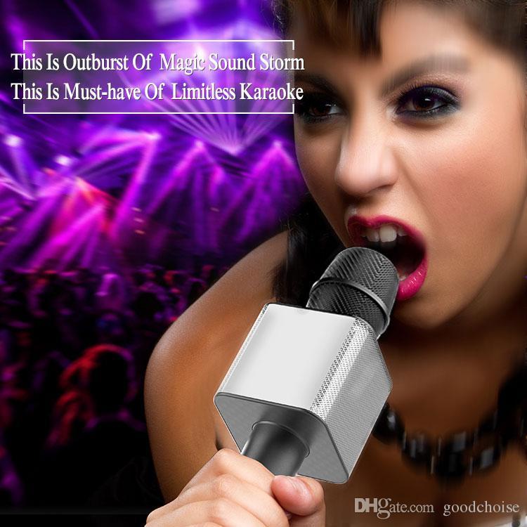 Q9 04 لاسلكي كاريوكي ميكروفون رئيس بلوتوث 2 في 1 المحمولة الغناء تسجيل المحمولة KTV لاعب لدائرة الرقابة الداخلية الروبوت