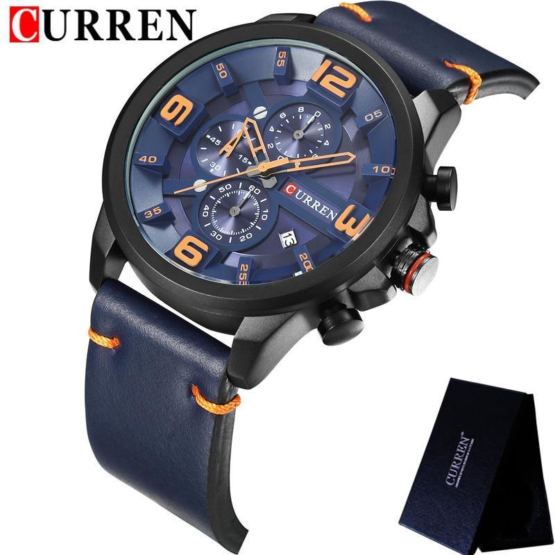7201f3d838a Compre Curen Marca De Luxo Homens Analógico Digital Relógios Esportivos De  Couro Relógio Do Exército Dos Homens Homem Relógio De Quartzo Relogio  Masculino ...