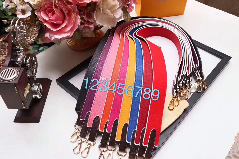 Famous designer brand new Genuine Leather women handbag wide shoulder long strap bandouliere crossbody bag belt with box