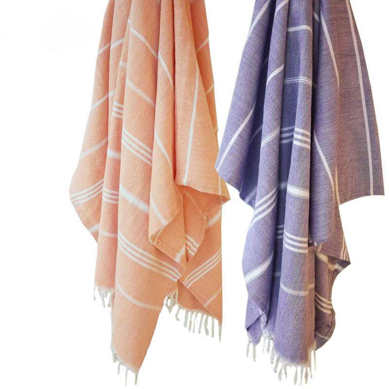 Turkish Bath Towels Cotton Fabric Tassel Big Beach Towel 100x180cm