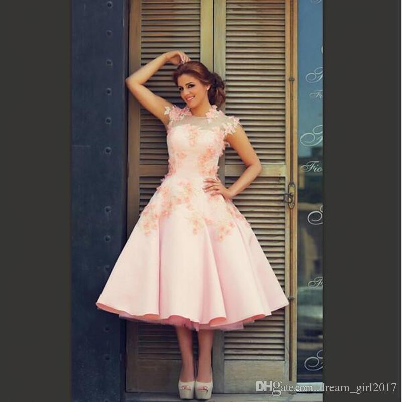 Discount 2018 Blush Pink Short Wedding Dresses New Design A Line Satin  Tulle Bridal Gowns Tea Length Modern Fashion Lace Petals Custom Made  Popular