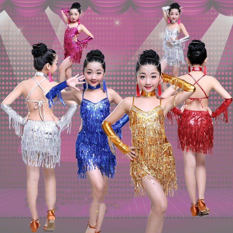 2019 Latin Dresses For Girls Competition Sexy Sequin Tassel Latin Dance  Dresses Girls Dancing Dress For Singer Costume From Honhui, $30.17 |  DHgate.Com