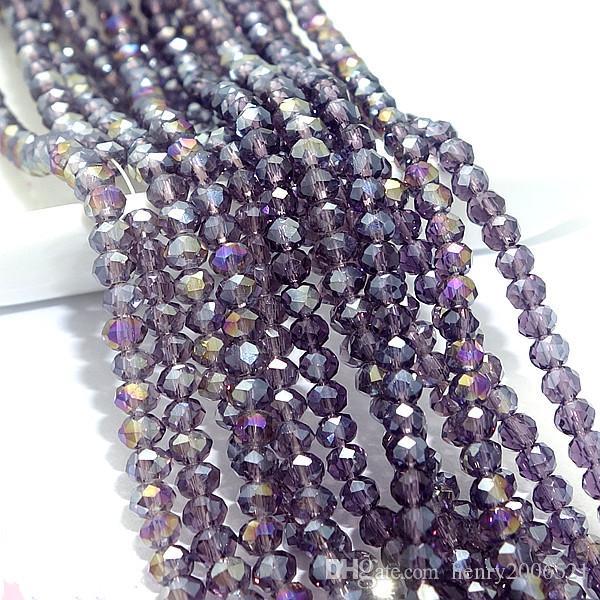 Großhandel 150 stücke violett rondelle facettiert klar glas kristall lose spacer perlen 4x2mm hh5