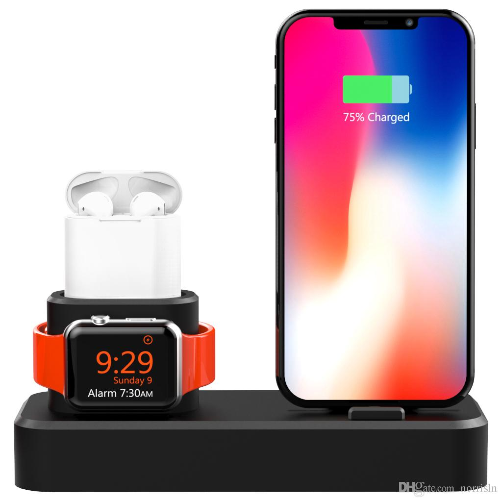 3 in 1 Silikon-Ladestation für Apple Watch / iPhone und AirPods, Ladestation Dock Station für Apple iWatch Serie 4/3/2/1 / AirPods / iPhone
