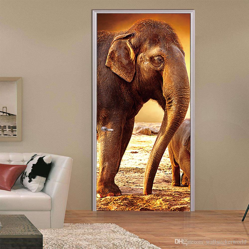 2Pcs/Set 3D Door Stickers Castle Elephant Stickers Living Room Bedroom Door Creative PVC Background Decorative Wall Stickers