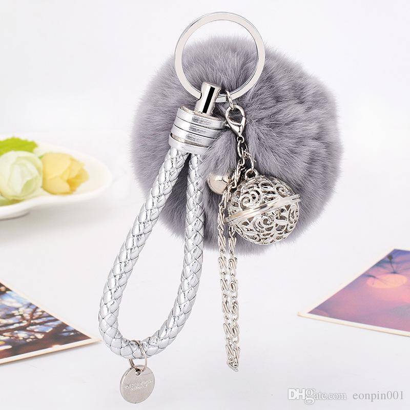 Faux Rabbit Fur Ball Pompon Keychain Trinket Fluffy Pom Pom Pearl Key Chain Women Key Ring Holder For Bag Car Jewelry Gift