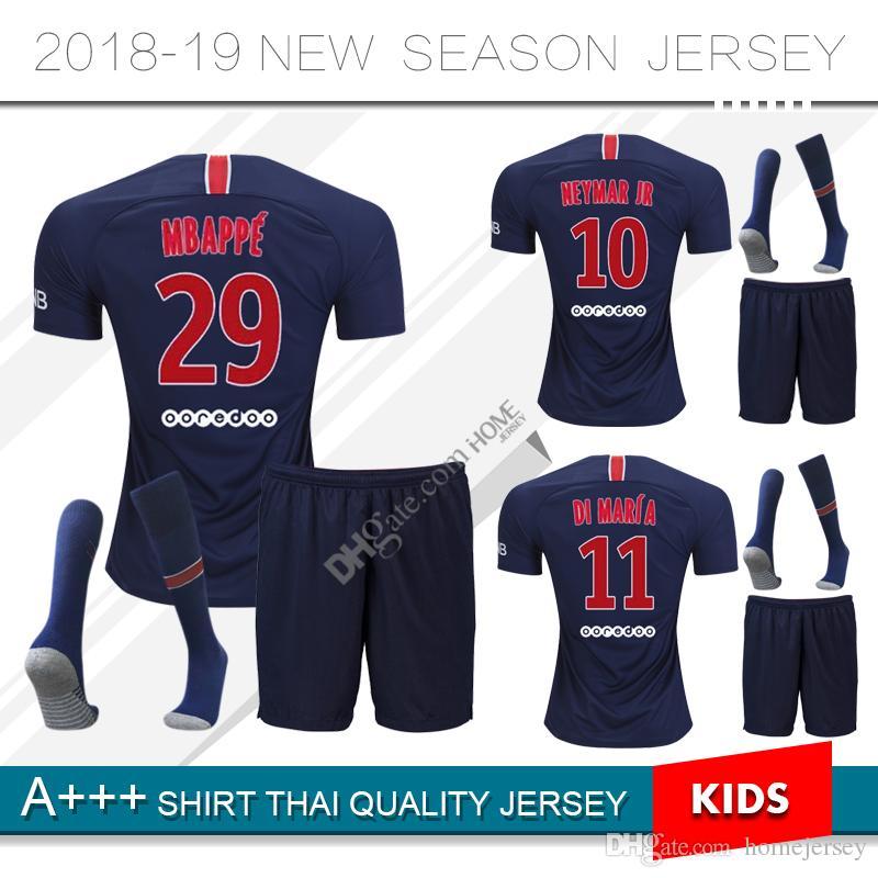 the latest 8570c ce0d5 2018 2019 Paris kids kit soccer Jerseys 18 19 neymar jr mbappe home  VERRATTI CAVANI DI MARIA MAILLOT DE FOOT child FOOTBALL SHIRTS