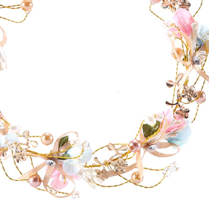 Pretty Pink Flower Bow Hair Pins Bridal Headband Handmade Pearl Crystal Wedding Tiara Accessories Women Hair Jewelry Headdress