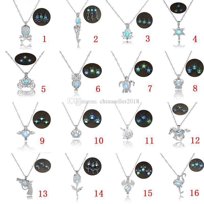 16 تصاميم فاخرة يتوهج في الظلام قلادة الحجر فتح 3 ألوان قفص اللؤلؤ قلادة القلائد للنساء السيدات الأزياء والمجوهرات
