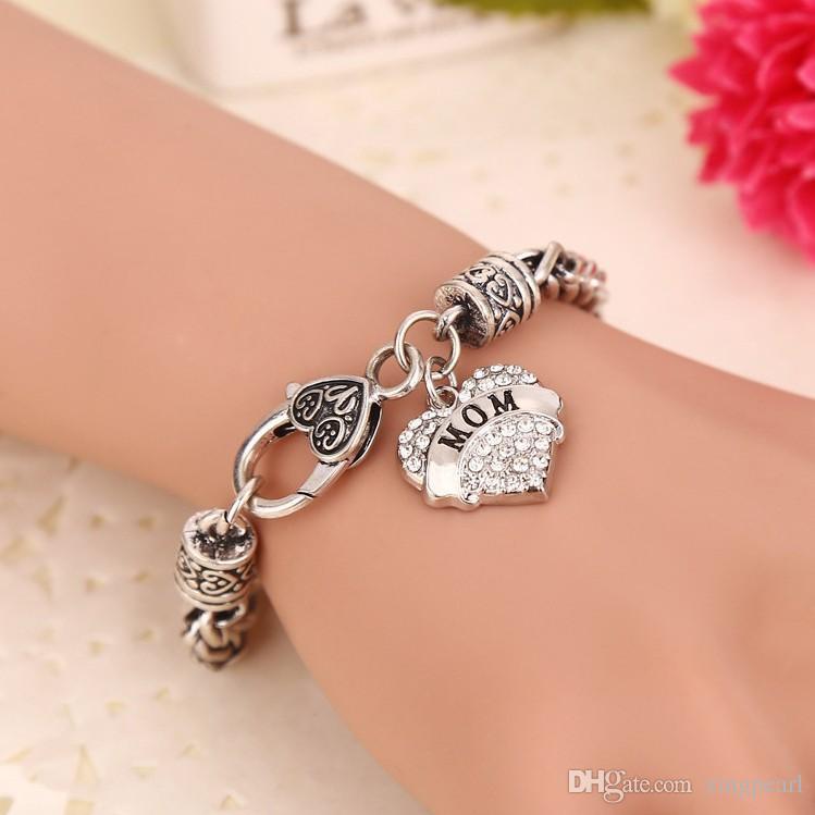 15 Styles Charm Middle Little Sister Sis Clear Crystal cuore ciondolo braccialetto Bella famiglia ragazza regali partito lucido moda gioielli