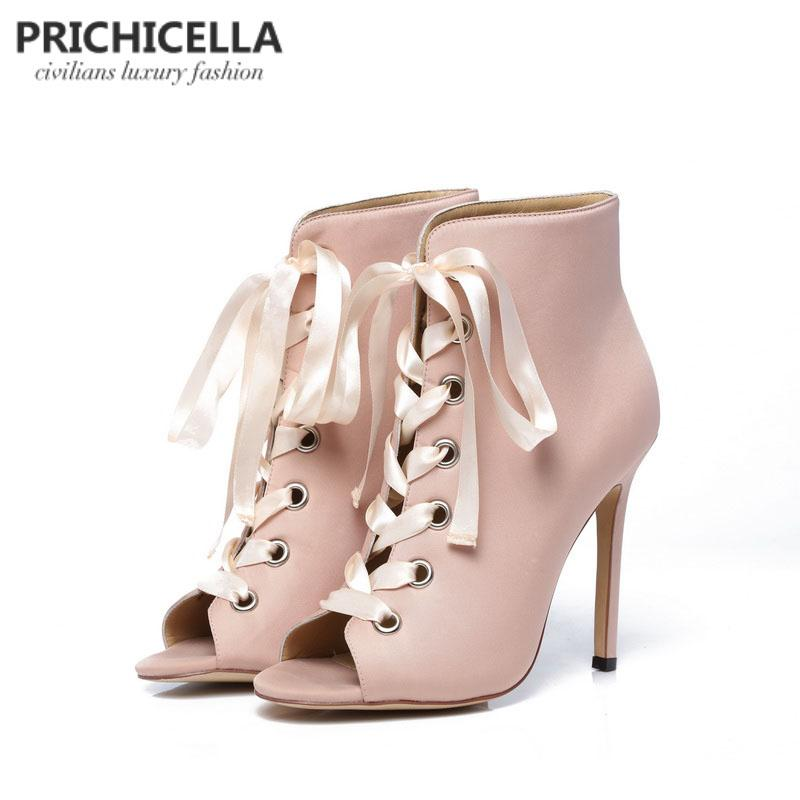 b69e9d715d17 PRICHICELLA Women S Pink Satin Ribbon Lace Up Ankle Boots Genuine Leather  Open Toe High Heeled Gladiator Booties Sandals Black Boots For Women  Platform ...