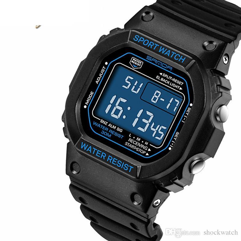 Herrenuhren Herren Uhr Marke Sanda Sport Tauchen Led-anzeige Armbanduhr Mode Lässig Gummi Strap Uhr Männer Montre Homme Relogio