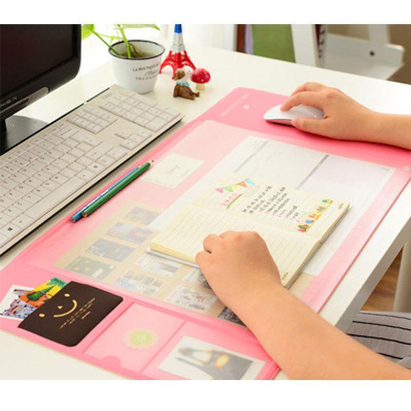 4 Colors Big Capacity Korea Stationery Multi Function Desk Pad Organizer Storage Set Protect Wrist Warmth Free