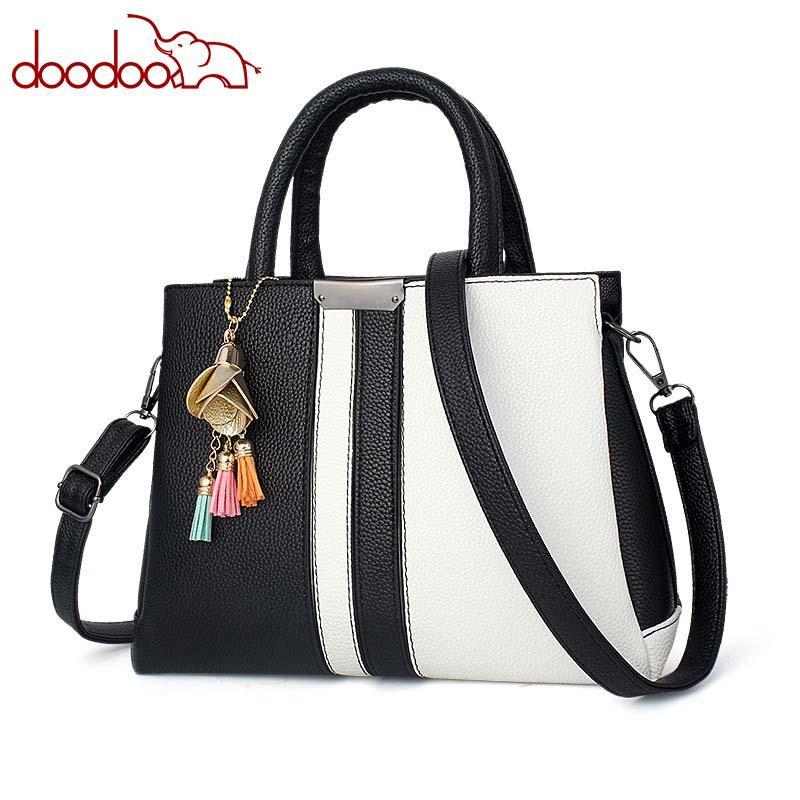 b7d7a832ec 2018 Elegant Ladies Handbag Fashion PU Leather Color Matching Shoulder Bag  Large Capacity Messenger Bag Designer White Handbags Discount Designer  Handbags ...