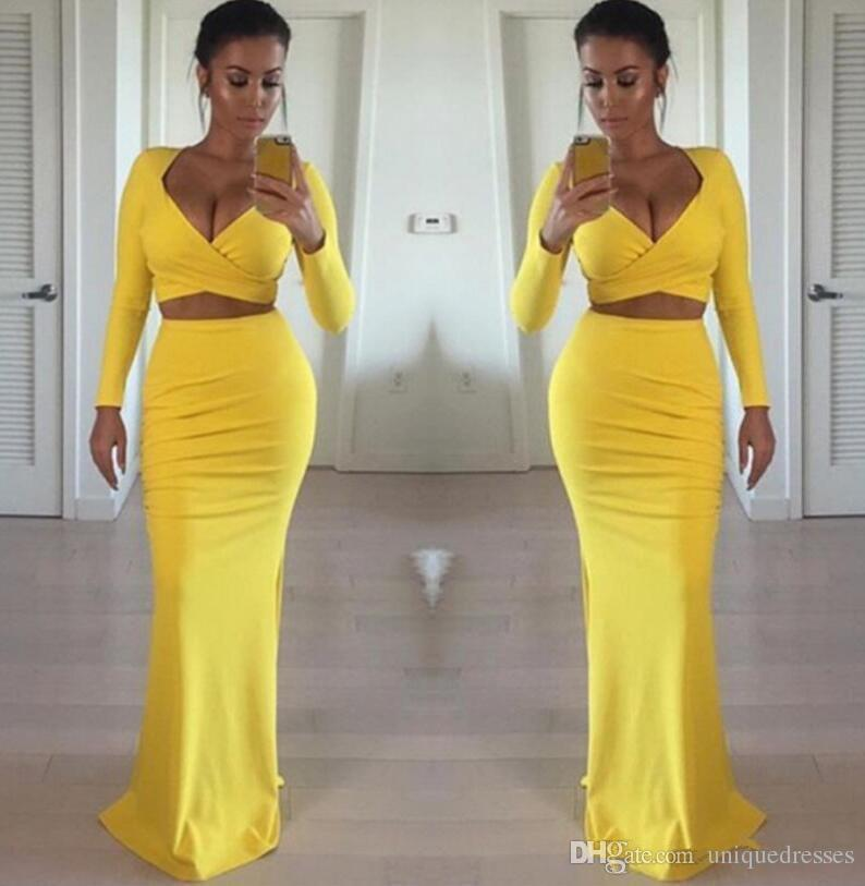 Sexy African Black Girls 2019 Yellow Prom Dresses Long Sleeves Two