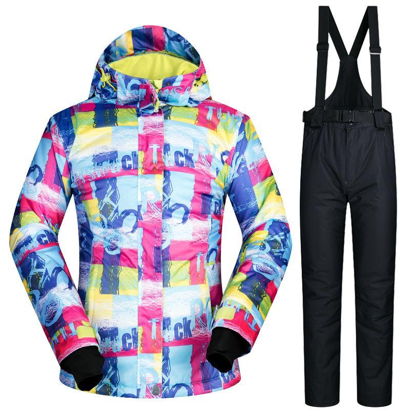 da3a2148f224 2019 Waterproof Ski Suit Women Ski Jacket And Pant Winter Snowboard ...