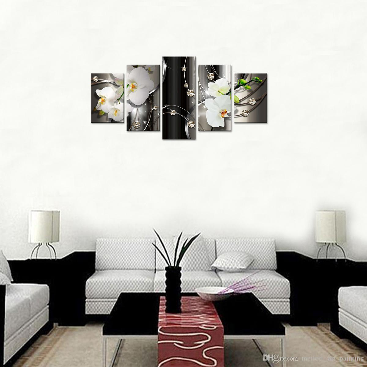 Best Canvas Painting White Orchid Flowers Wall Art Painting Diamond ...