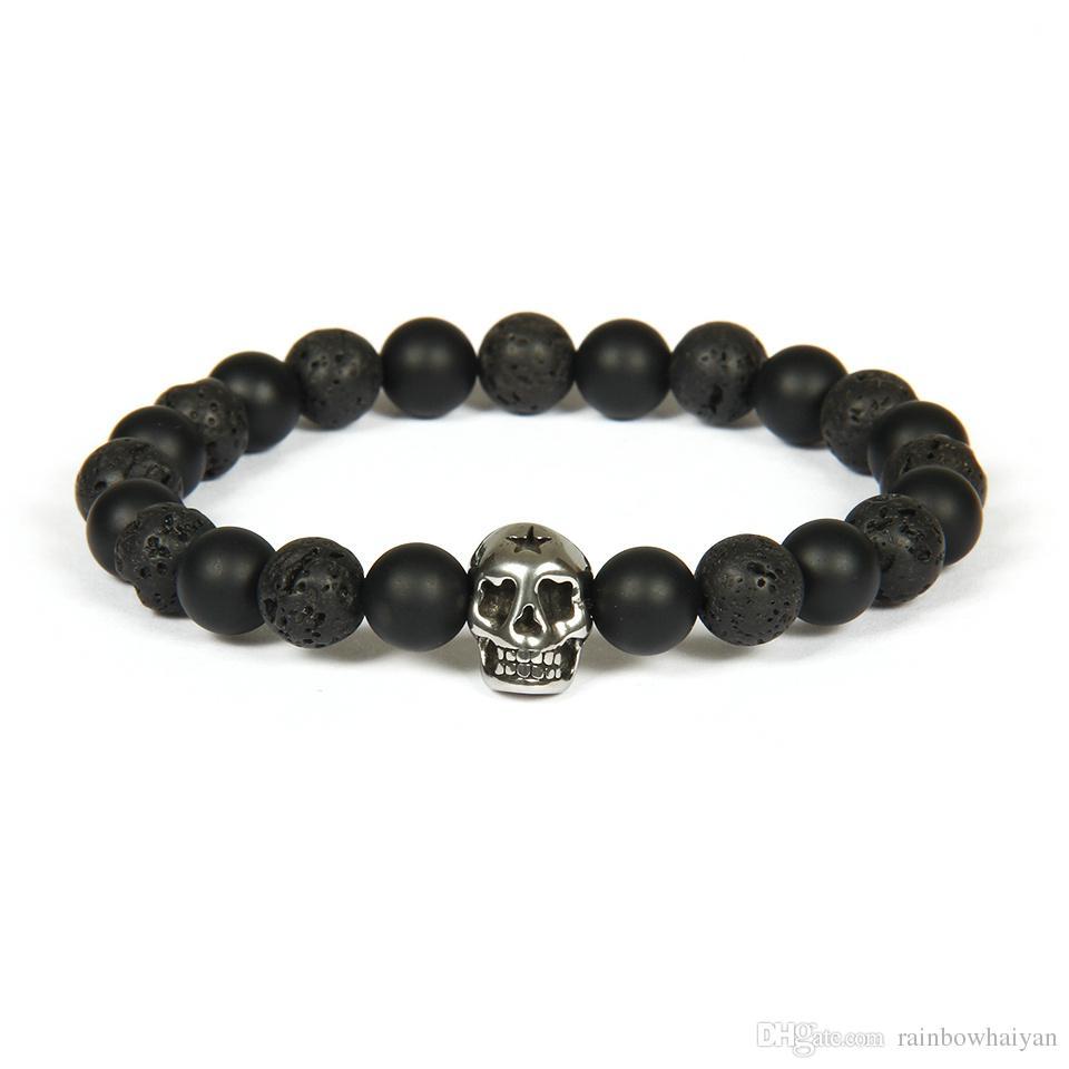 New Design Silver Stainless Steel Skull Bracelet Wholesale Not ...