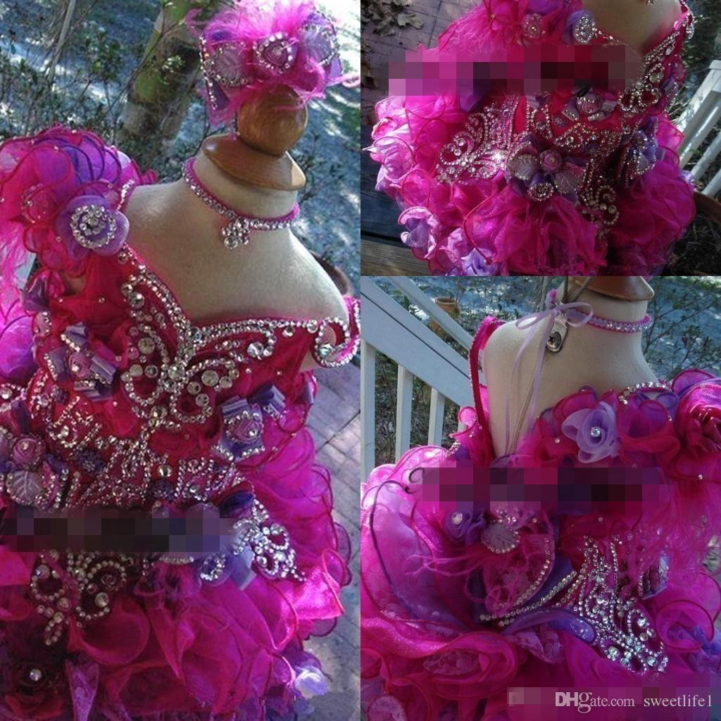 2019 Cute Girls Pageant Mini Ball Gowns V Neck with Beads Rhinestones Ruffles Organza Crystal Toddler Cupcake Gowns Kids Formal Wear