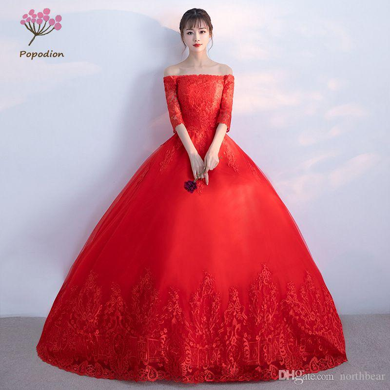 Popodion Red Wedding Dress Lace Plus Size Simple Wedding Gowns For ...