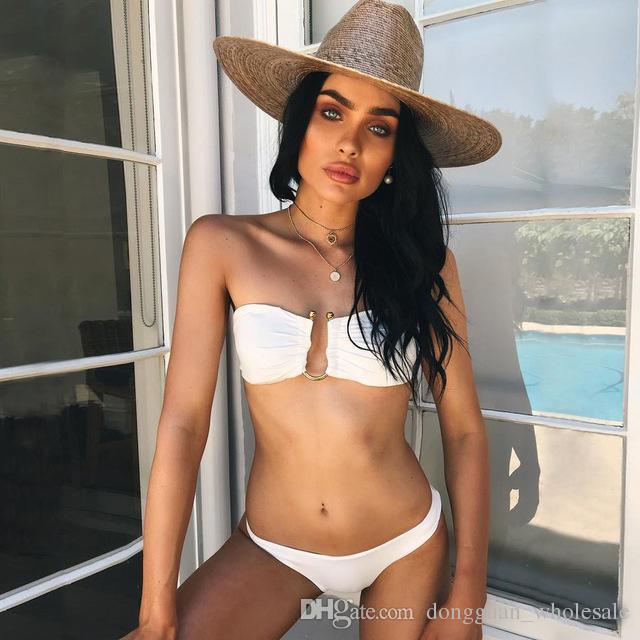 a9a228b41df5 Bandeau Sexy Bikinis Mujeres traje de baño 2018 Push Up traje de baño  brasileño Bikini Set traje de baño Beach Wear negro blanco
