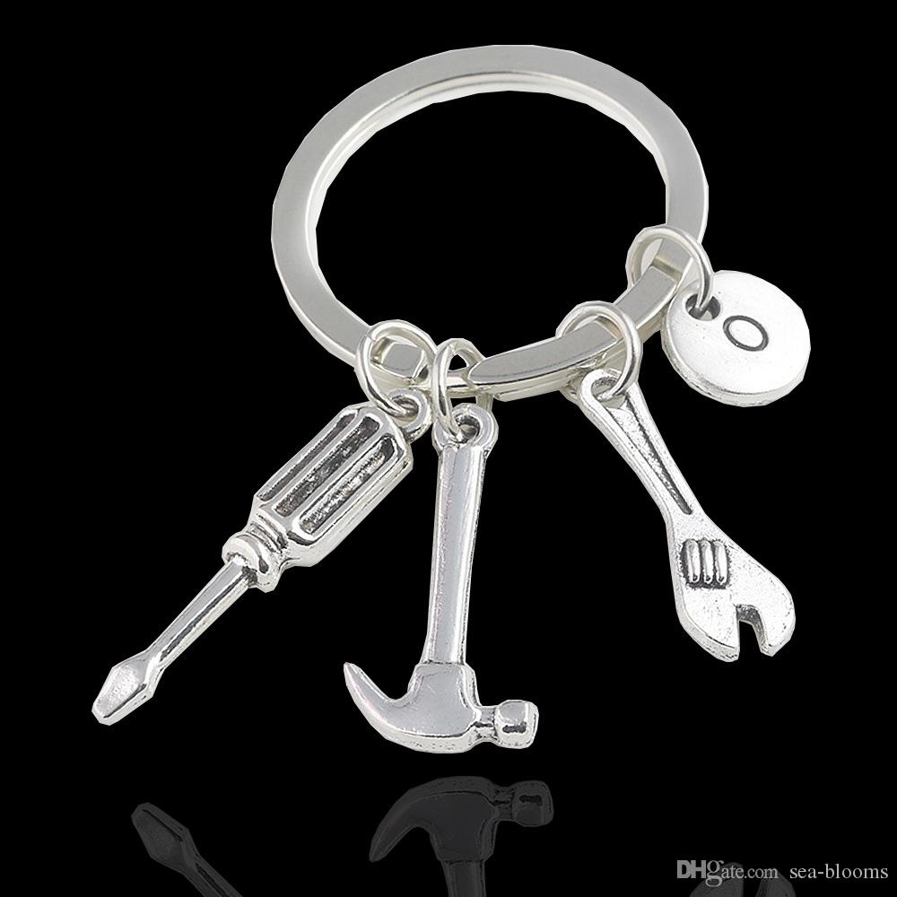 Small Tool Dad Keychain If Dad can't fix it Wrench Spanner Rule Hammer Model Key Chain Key Ring D273Q