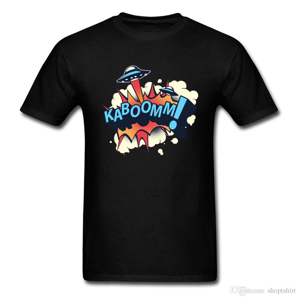 3cfcda07db Compre KABOOMM UFO Navio Artesanato Camisetas Engraçadas Camisetas  Personalizadas Para Adulto 100% Algodão Verão   Outono Tops T Camisa 2018  Nova Marca De ...