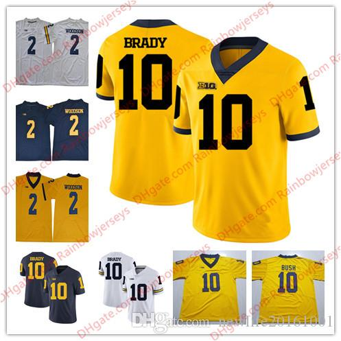 NCAA Michigan Wolverines  10 Tom Brady 2 Charles Woodson College Football  Jerseys Navy Blue White 2017 New Gold Yellow Stitched S 3XL UK 2019 From ... 6d02dd6be