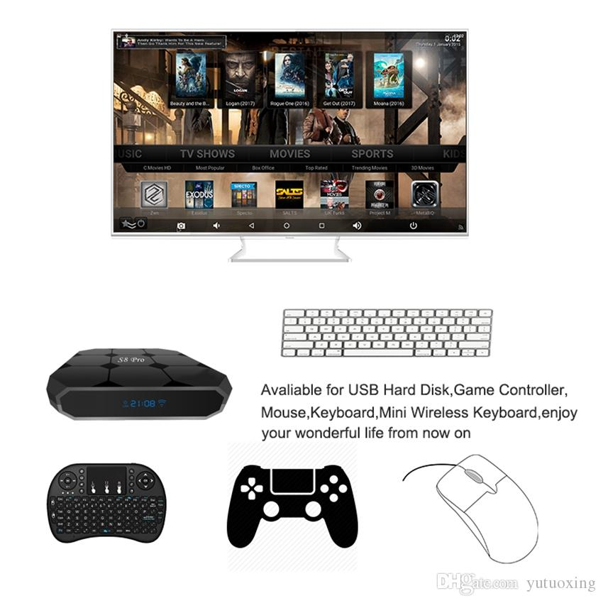 Новые Google Voice Control Android TV Box S8 PRO Quad Core 2GB 16GB Amlogic S905w с Air Mouse Голос смарт ящик ТВ