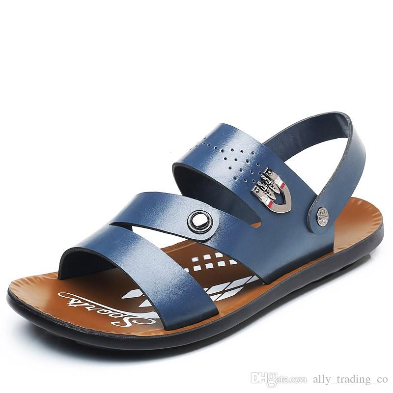 f4cd9e083762 Men S Shoes Summer Sandals Male 2018 New Beach Shoes Men S Tide Korean  Version Of The Leather Cool Slippers Casual Non Slip Men S Sandals Cheap  Shoes Wedge ...