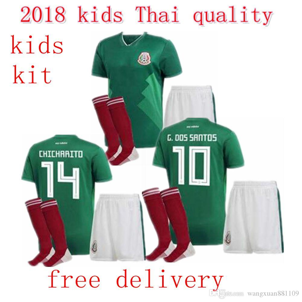 Best Quality Mexico BOYS Football Jersey Kid Kit Home Green G.DOS SANTOS  CHICHARITO G.DOS SANTOS R.MARQUEZ Mexico Soccer Jersey Child Kit G.DOS  Jerseey ... 035daa549