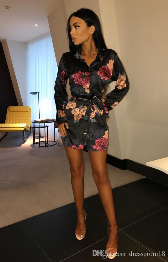Womens Sexy V Neck Floral Printed Shirt Dress 2018 Long Sleeved Waist Band Empire Waist Night Sleeping Dress
