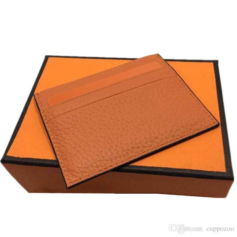 Nuovi uomini Fashion Design classico Porta carte di credito casual ID di alta qualità in vera pelle Portafoglio ultra sottile Porta biglietti da visita Mans Womans