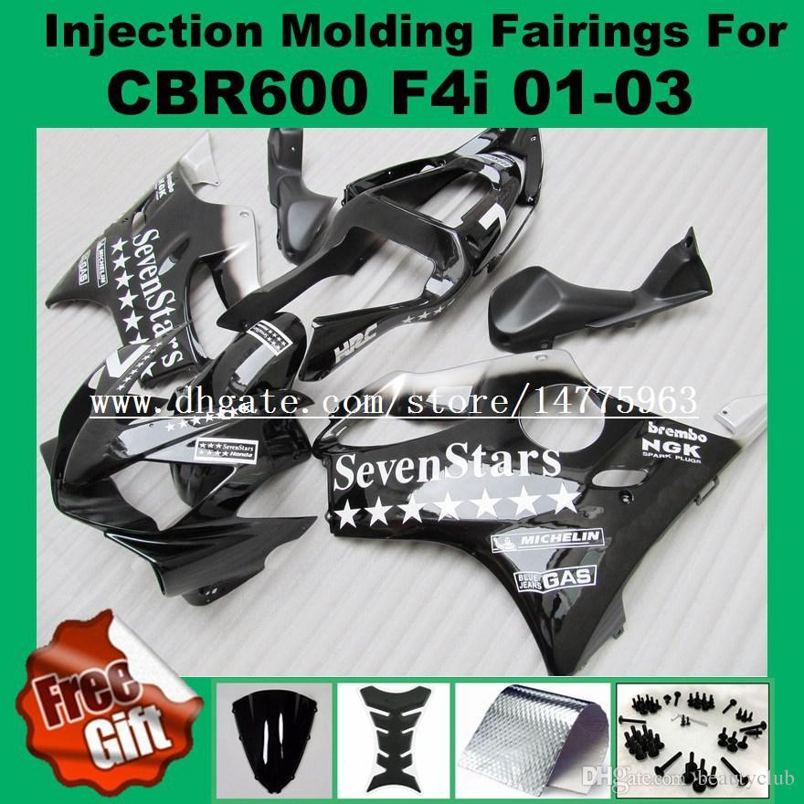 Carenagens de moldagem por injeção para HONDA CBR600F4i 01-03 CBR600RR F4i 01 02 03 CBR 600 F4i CBR 600F4i 2001 2002 2003 Kits de carenagem Branco # 827AA