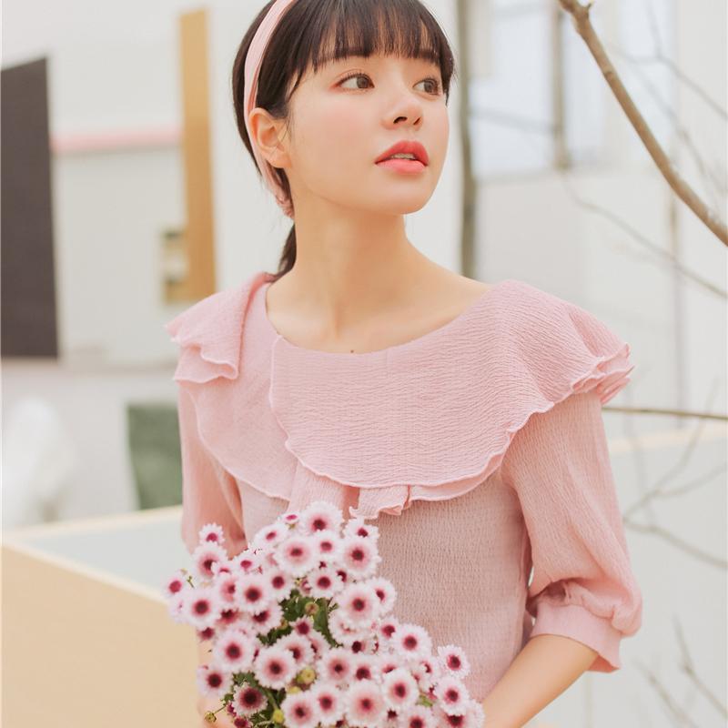 Compre Sexy Blusa De Chiffon Transparente Mulheres Verão Moda Ruffle Casual  Meia Manga Tops Estilo Coreano Camisa Do Vintage Blusas Rosa Branco De  Luweiha 19de42068901d