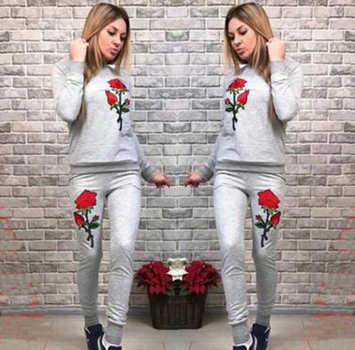 Rose Printed Frauen Trainingsanzüge Rundhalsausschnitt Blumenstickerei Casual Anzug Hoodies mit Jogger Hosen 2 Stück Kostüm Set für Herbst Winter