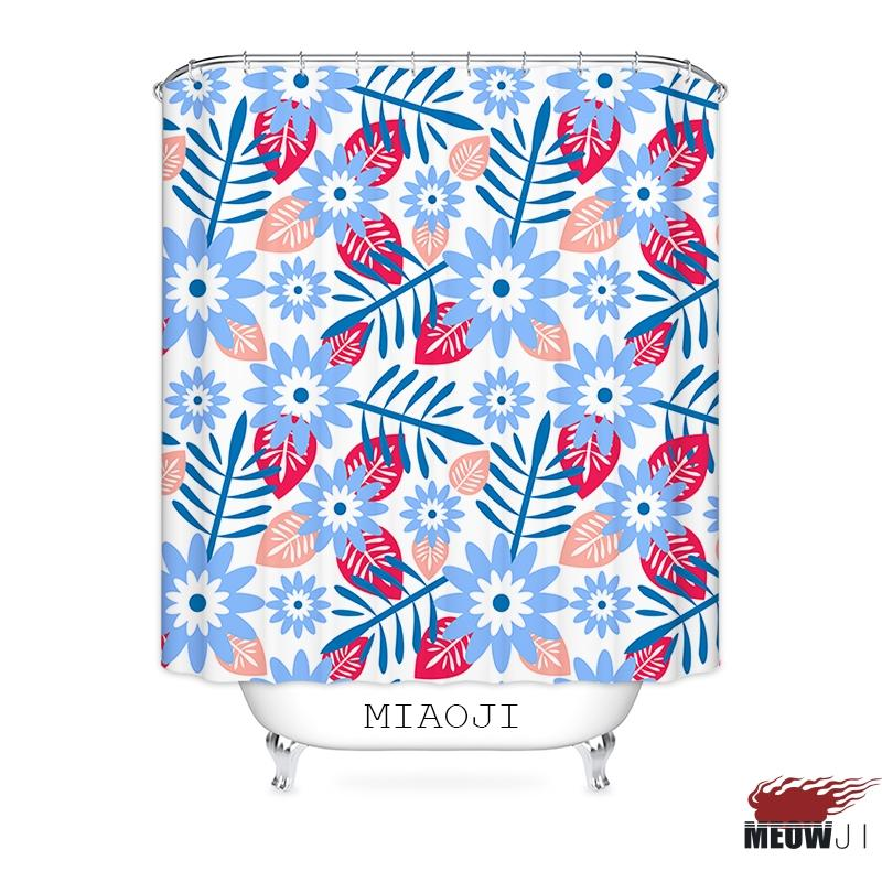 MIAOJI Floral Pattern Flowers Printed Polyester Fabric Bathroom Shower Curtain With Hooks