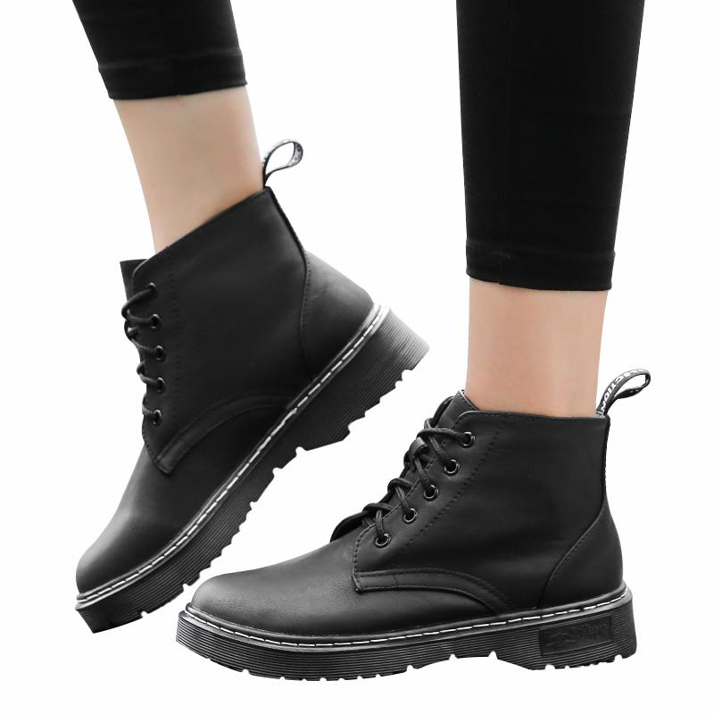 Spring Winter Women PU Leather Lace up Ankle Boots Round Toe Ladies Martin Motorcycle Low Heel Fur Lined Boots Shoes Women Size 34-43