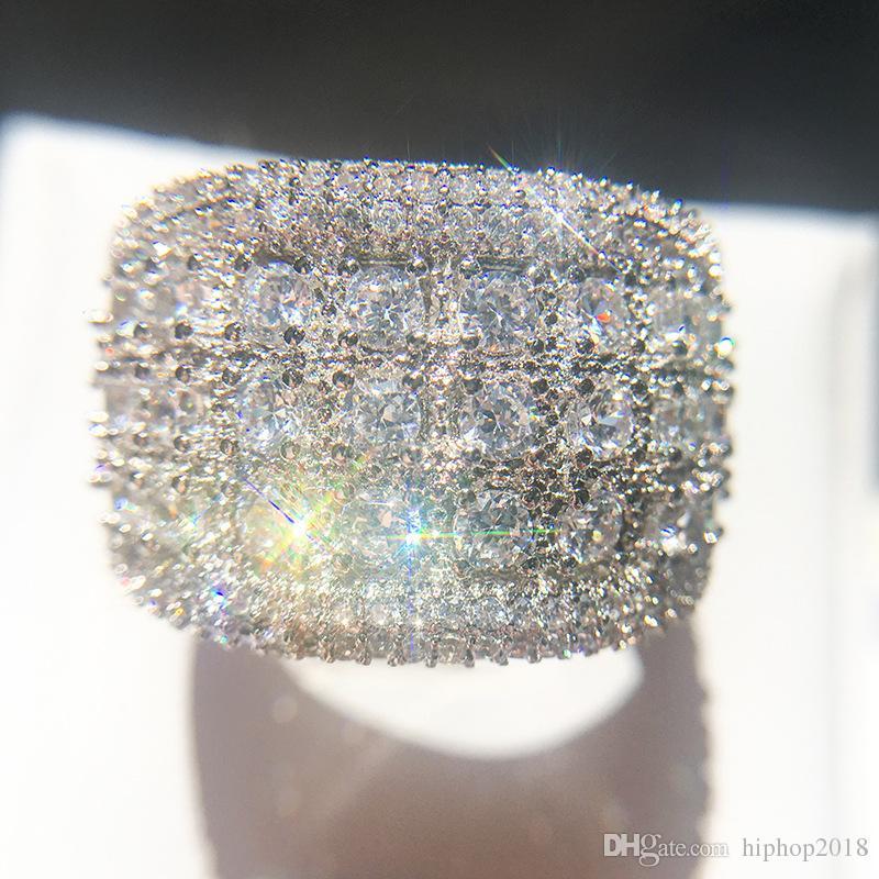 Circón anillos de diamante para hombre de la alta calidad de los anillos de compromiso de la nueva manera para la joyería anillo de bodas de plata de las mujeres