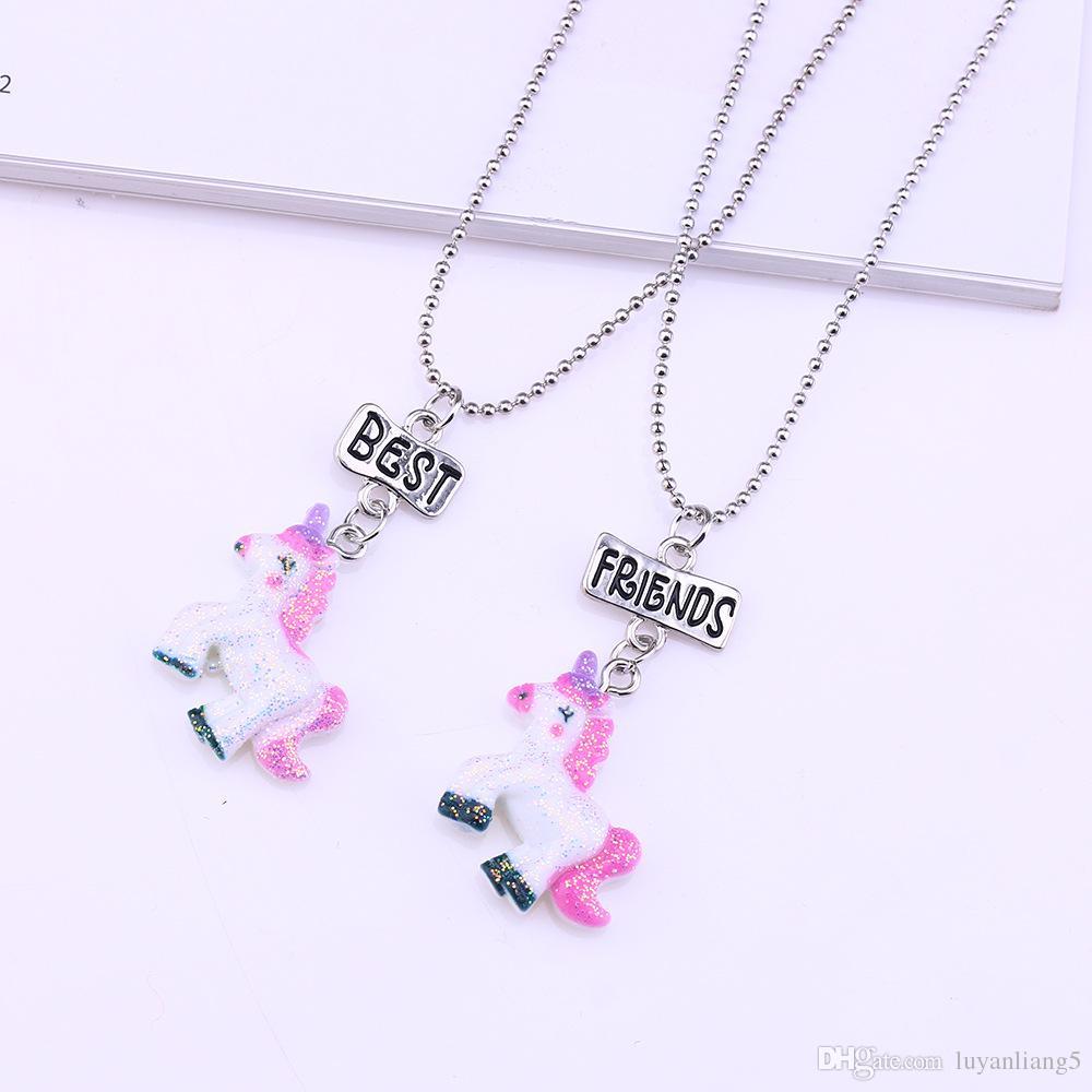 Resin Cartoon Unicorn Necklace 2018 fashion /sets BFF Child colorful unicorn horse best friend pendant necklace wholesale