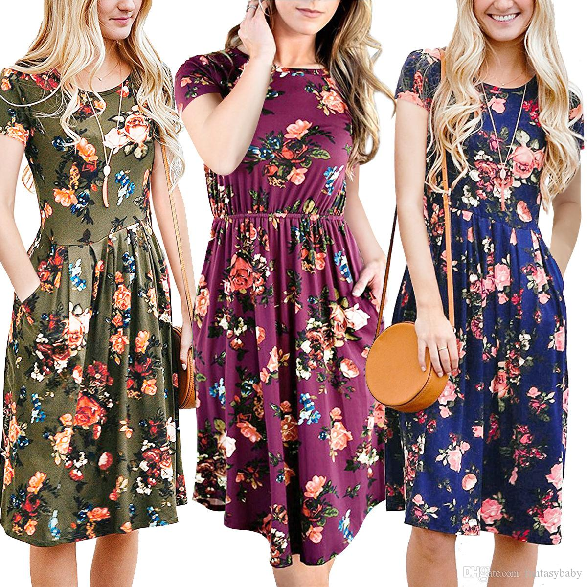 2018 New Fashion Clothing Womens Summer Casual Dress With Floral Short  Sleeve Midi Dress A Line Flare Vintage Dress FU040 Plus Size Cocktail  Dresses Long ... 58151e01c